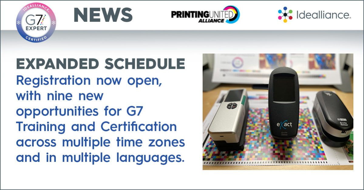 Idealliance® Releases Expanded Schedule of Summer and Fall G7® Expert Training Sessions for 2021, Including the First In-Person Training at PRINTING United User Experience